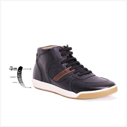 Zapato Deportivo District Negro Max Denegri+7cms De Altura