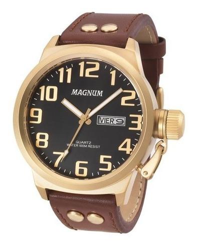 Relógio Masculino Magnum Em Couro Ma32952p Com Calendário