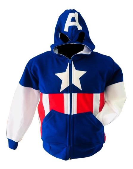 Chamarra Niño Superheroe Cap America Gorramascara T2 - T12