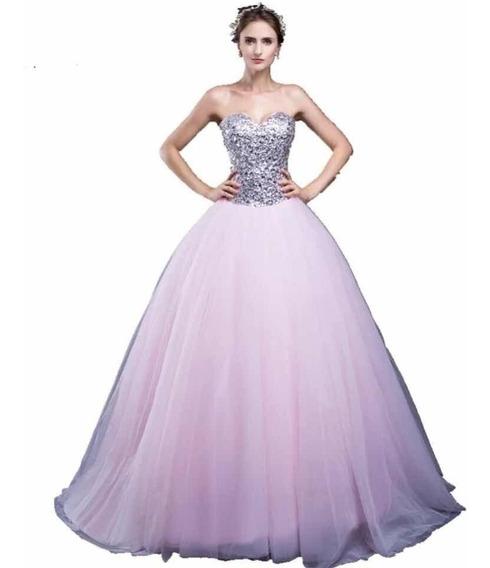 Vestido De Xv 15 Años Rosa Lentejuelas Mod 3085