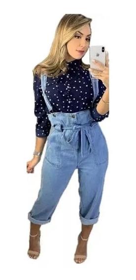 Calça Jeans Salopete Cigarrete Novidade Da Moda Blogueiras