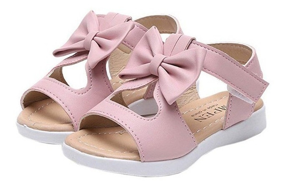 Sandalias En Piel Importadas Para Niñas Suela De Goma 15$
