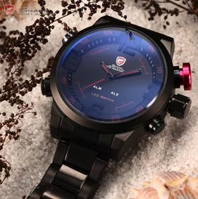 Relógio Masculino Luxo Vermelho Digital Prata Pronta Entrega