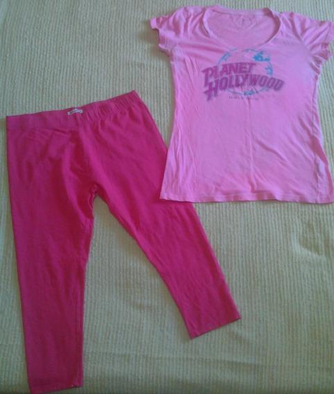 Conjunto Pijama De Dama Talla M Color Rosado Camisa Pantalon