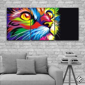 Cuadros Modernos Tripticos Gato De Colores 132x62cms Deco03