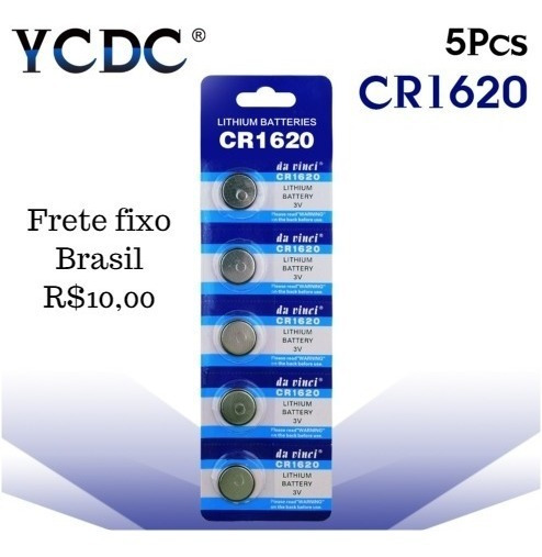 Bateria Lithium Cr1620 Cartela 5 Unidades - 2 Kits(10 Unid)