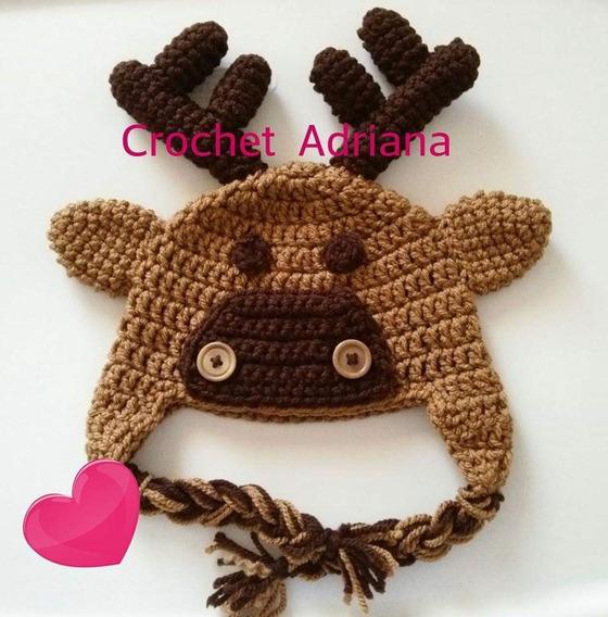 Gorro Reno Niños Y Adultos Crochet