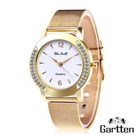 Relógio Feminino Dourado De Quartzo