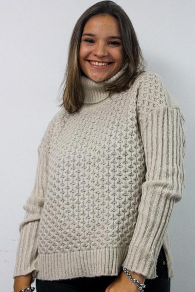 Sweter Mujer Lana Invierno Cuello Polera Con Corte Detalle