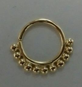Piercing Argola Com Bolinhas Ouro 18k Joalheria Artesanal