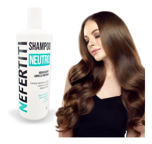 Imagen 1 de 10 de Shampoo Neutro Nefertiti Sin Sal + Limpieza Profunda 1000 Ml