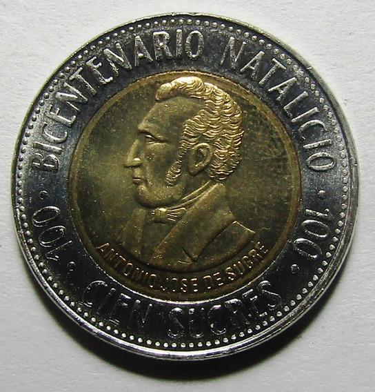 Ecuador Bimetalica 100 Sucres 1995 200º Aniv Antonio Sucre