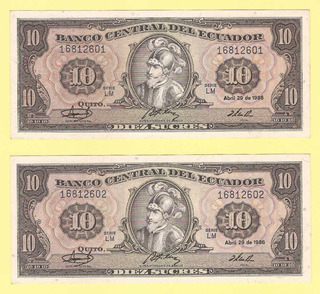 2 Billetes Ecuador Seguidilla 10 Sucres 1982 Uncirculated
