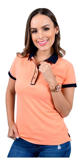 Playera Polo Mujer Casual Color Salmon Porto Blanco Dp-443
