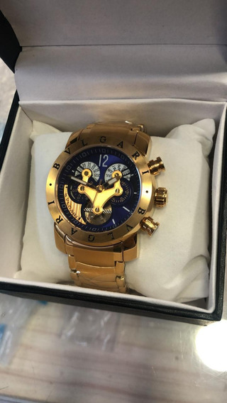 Relógio Bvlg Automático Banhado A Ouro Frete Grátis