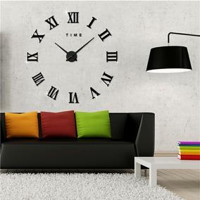 Relógio Grande De Parede Números Romanos 3d Luxo Preto