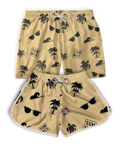Kit Casal Short Bermuda Praia Summer Verão Promoção