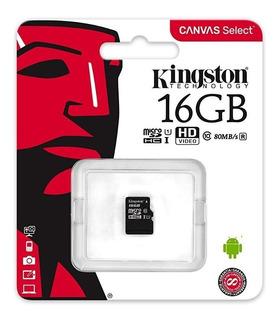 Memoria Micro Sd 16gb Clase 10 Kingston Pack X 10u