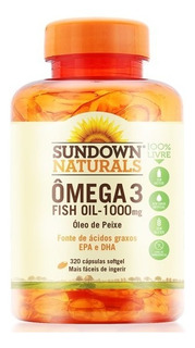 Ômega 3 Sundown Importado 320 Caps 1000 Mg Fish Oil Peixe