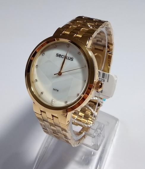 Relógio Dourado Feminino Original Seculus Ref-77030lpsvds1.