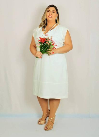Vestido Polly Twill Feminino Plus Size Branco G