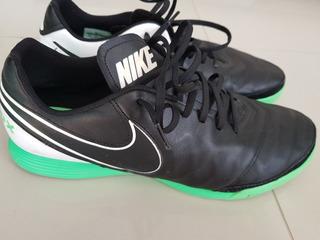 Chuteira Tenis Nike Tiempo Couro Usada 44