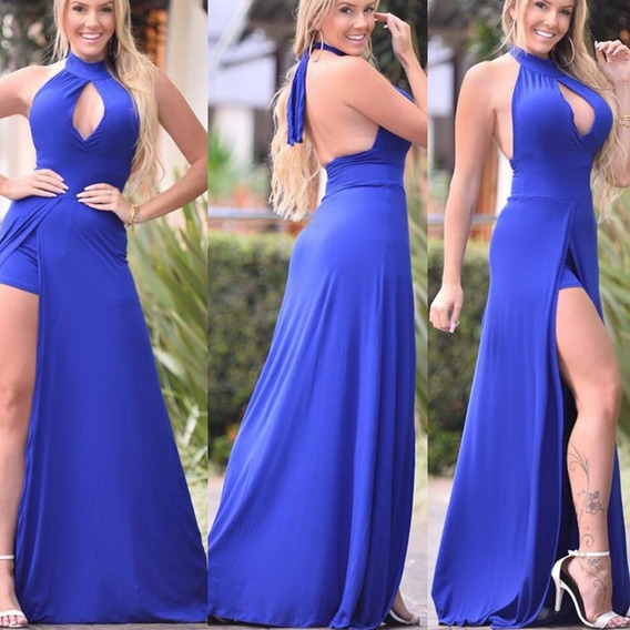 Vestido Longo Panicat C Shorts E Fenda Roupas Feminina
