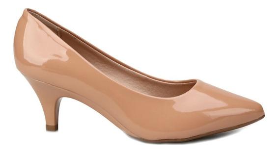 Sapato Scarpin Salto Baixo Verniz Beira Rio Nude