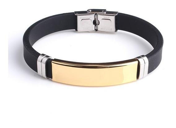 Pulseira Bracelete Masculino Silicone Placa Dourada Aço Inox