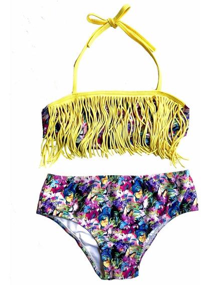 Bikini Adolescente Traje De Baño Violeta Amarillo
