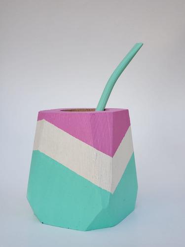 Mate Hexagonal +bombilla - Pintado A Mano - Colores Pasteles