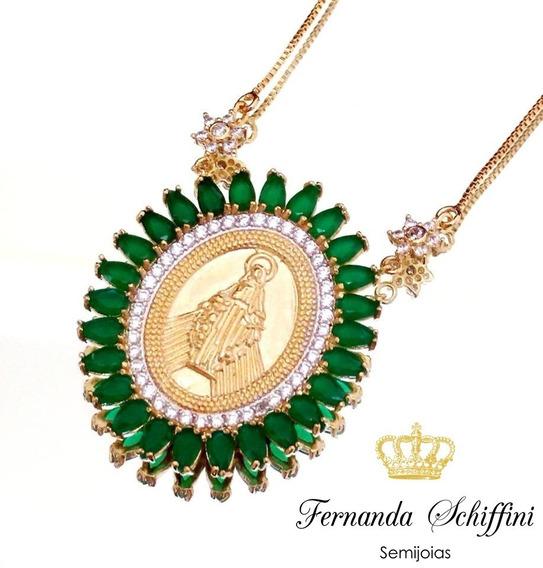 Colar Nossa Senhora Das Graças Esmeralda Semijóia Cl1642