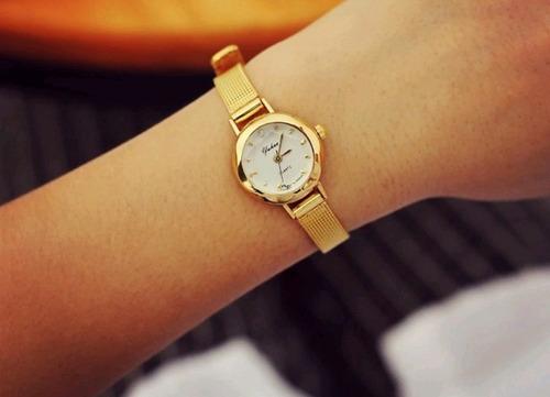 Relógio Feminino Dourado Luxo Fashion Moda Casual Aproveite