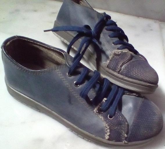 Zapatillas C/cordon 33/34 Azules Rusticas Barracas Palermo