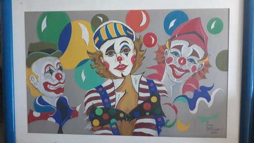 Cuadro Payasos Año (1991) 24x30 Vertical.