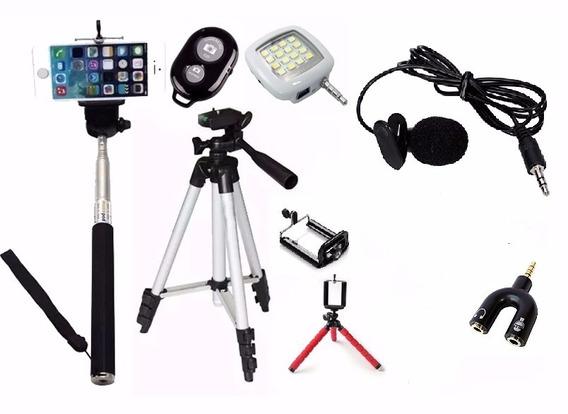 Mini Tripé Flexível Lapela Tripé 1,20m Flash Selfie Youtuber