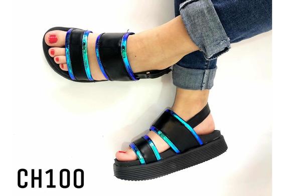 Sandalias De Mujer Con Plataforma Alta Espejada Art Ch100