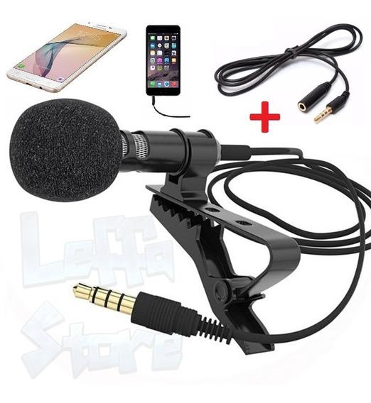 Microfone De Lapela + Extensão P/ Celular Smartphone iPhone