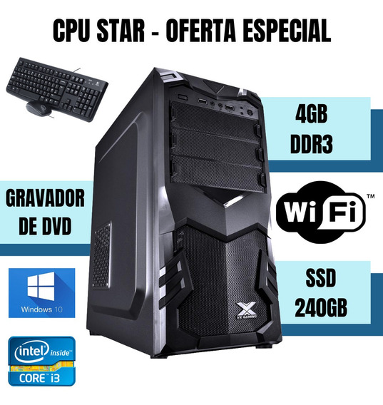 Cpu Torre I3 4gb Ram Ssd 240gb Win10 - Wifi, Teclado E Mouse