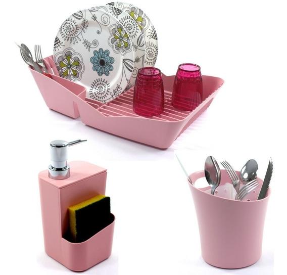Escorredor 10 Pratos Porta Talher Dispenser Detergente Rosa