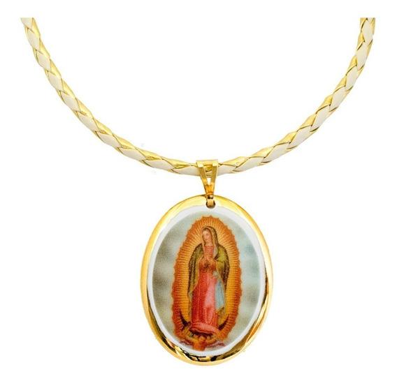 Medalha Nossa Senhora Guadalupe Ouro E Corrente Couro