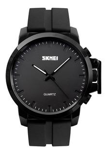 Reloj Hombre Skmei 1208 Acero Negro Pvd Caucho Fashion Top