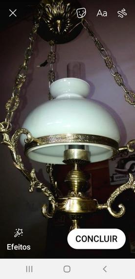 Lustre Em Metal Cúpula De Opalina Luminária De Teto Antiga