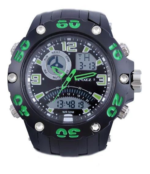 Relógio Esportivo Epozz Original Preto/verde