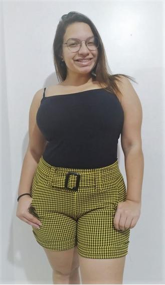 Shorts Feminino Xadrez Jacquard Plus Size