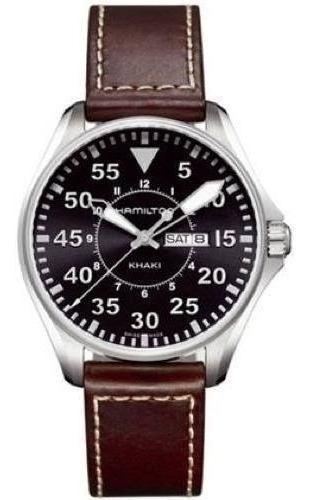 Relogio Hamilton H64611535 Khaki King Pilot Couro Marrom