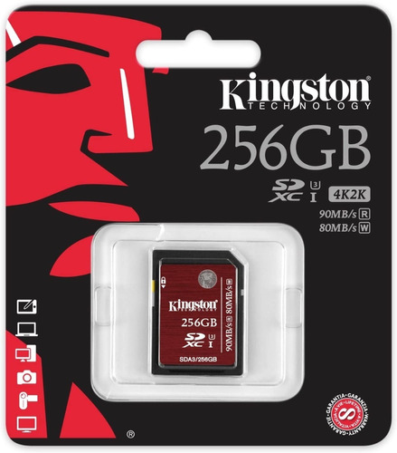 Imagem 1 de 5 de Cartão De Memoria Kingston 256gb Classe 10 Sdxc Uhs-i U3