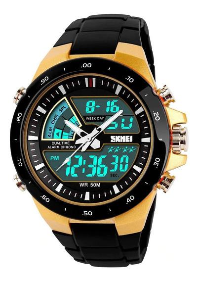 Relógio Masculino Esportivo Anadigi Skmei 1016 Dourado