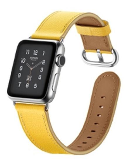 Pulseira Em Couro Estilo Hermes Apple Watch 42mm - Amarela