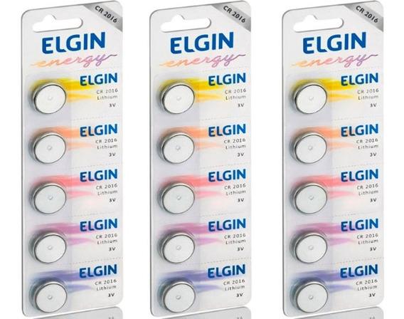 3 Cartelas Baterias De Litio Cr 2016 (82191) Elgin (15bat)